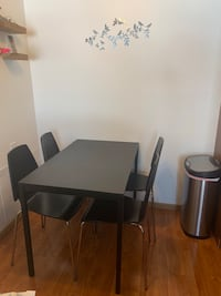 Ikea Dining table with stackable chairs(four)