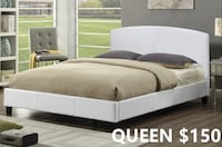 Brand new white queen faux leather platform bed frame warehouse sale 多伦多, M1R 2S8