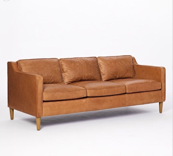 West Elm Hamilton Leather Sofa Couch