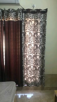 Brown and white Swayam Curtains set of 4
