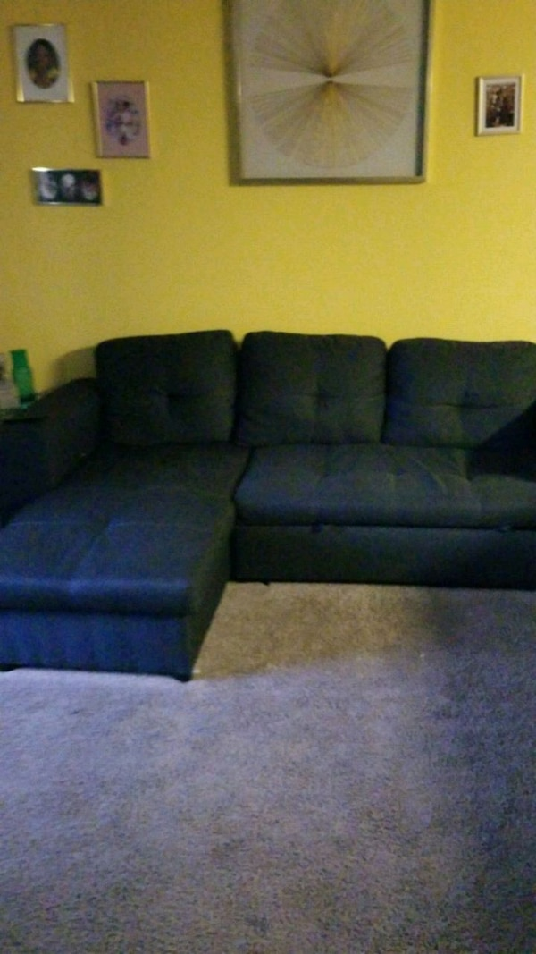 black and blue suede sectional sofa