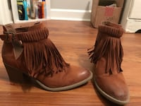 pair of fringe brown suede chunky-heeled leather buckled boots Summerville, 29485