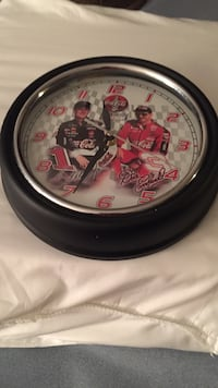 Coca cola clock featuring dale earnhardt and his son dale earnhardt jr both signed