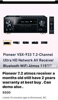 Pioneer VSX - 933 7.2 channel ultra HD receiver