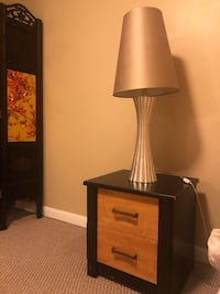 black wooden base table lamp with white lampshade Woodbridge, 22193