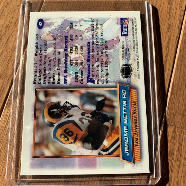 1994 Topps Finest 42 Jerome Bettis Rookie Psa 9 Mint Pittsburgh Steelers Hof