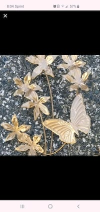 Vintage brass metal butterfly wall decoration