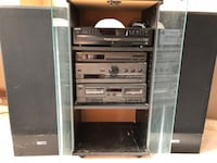 Audio system - includes speakers, cd player, cassette player and stand King, L7B