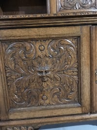 Early 1900 English Green Man breakfront.  Two piece oak  Lake in the Hills, 60156