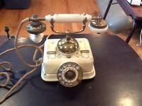 1930's telephone from denmark / Antique white enamel and brass  solid metal base Clifton, 07013