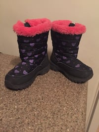 Black-purple-and-pink mid-calf snow boots size 10