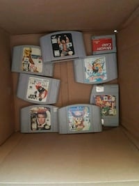 assorted Nintendo 64 game cartridges