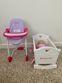 Bitty Baby with crib and high chair