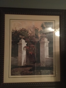 """38"""" by 43"""" picture of a garden gate."""