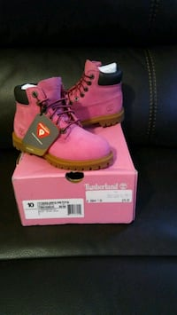 pair of brown Timberland work boots with box Scotia, 12302
