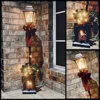 Never Used 4 Foot Pre-Lit Lamp Post Christmas Holiday Decoration