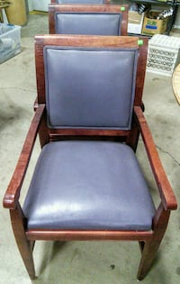 Modern dining chair, wood frame, faux leather and fabric back. Canby, 97013