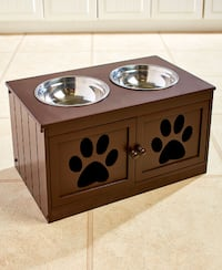 Brand New! Pet Hutch With Two Stainless Steel Bowls (Black or DARK WALNUT) Columbus