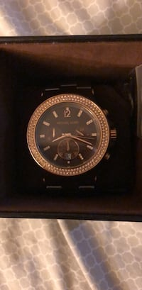 round gold Michael Kors chronograph watch with link bracelet Union, 07083