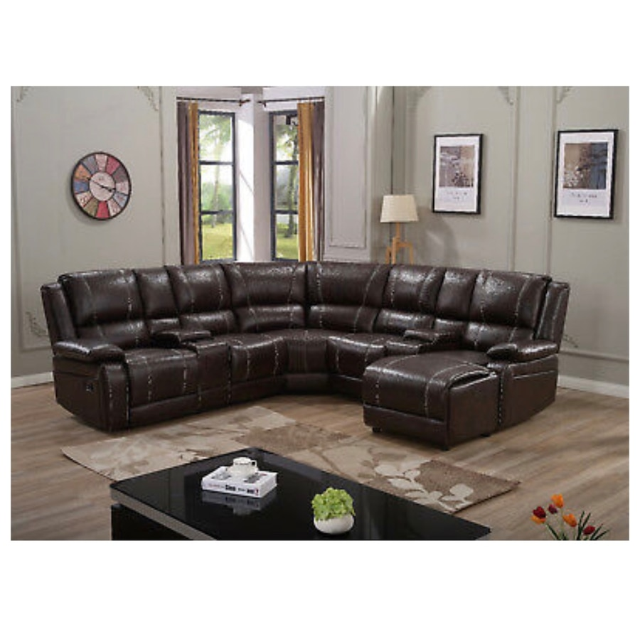 7 Pc BONDED LEATHER RECLINING SOFA RECLINER SECTIONAL SET Espresso Brown