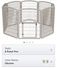 New, unused..IRIS 34'' Exercise 8-Panel Pet Playpen with Door, Chrome St Thomas, N5R 6M6