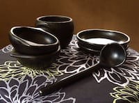 Colombia Chambas black pottery, includes a soup terrine, laddle, 2 bowls and 2 plates Ottawa, K1S 4E1