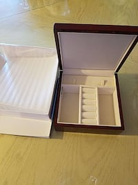 brown and white jewelry boxes