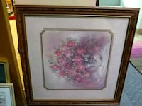 pink and white flower painting with brown wooden frame South Bend, 46614