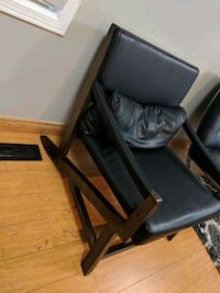 Structube solid wood leather chair