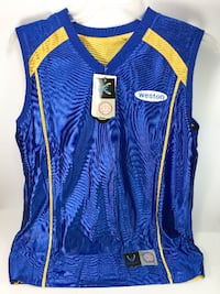 WESTON Men Blue/Yellow Sleeveless Reversible T-Shirt Size L MONTREAL
