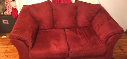 Red microfiber loveseat for sale