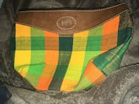 green and orange plaid handbag