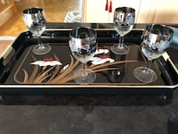 Tray & two tone glasses for sale Laval, H7T 2L5