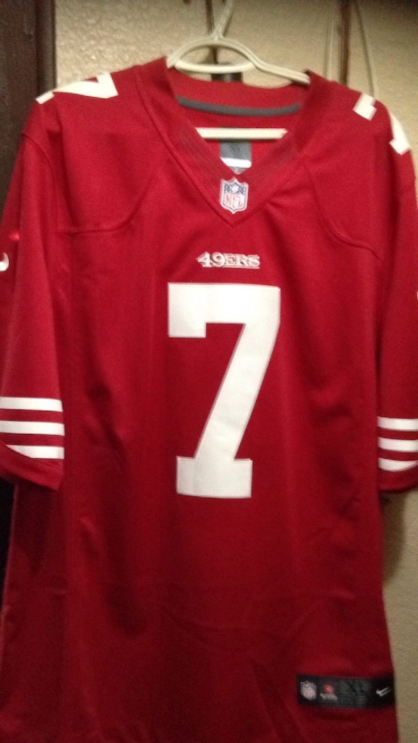 the latest 2ce7a 763e1 red and white San Francisco 49ers 7 jersey shirt