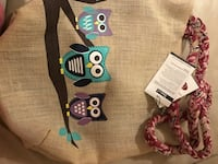 Brown, teal, and black owl on the branch print bag Annandale, 22003