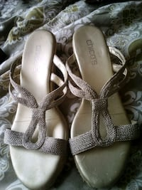 pair of gray leather open-toe heeled sandals Panama City, 32401