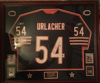 Brian Urlacher autographed authentic framed jersey. Autographed authentic Brian Urlacher Bears Jersey, ROY 2000 inscription. Framed with authenticity hologram. Future hall of famer. With 4 rookie cards in the frame. $600 or make an offer. CHICAGO