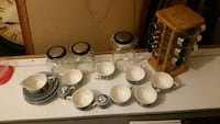 Tea cup and plate set jars and spice rack Pawtucket, 02861