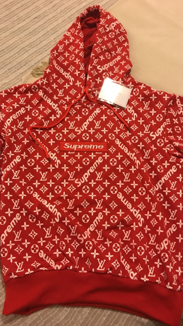 Red louis vuitton x supreme pullover hoodie