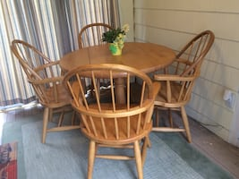 Butcher Block Table and Four Windsor Chairs