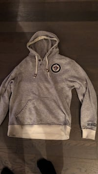 Gray and white pullover hoodie