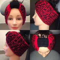 Red and Black crocheted headband