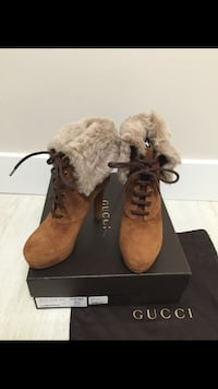 brown Gucci suede lace-up chunky heeled booties with box Coquitlam, V3K 3A9