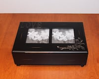 Wooden keepsake box with photo inserts in lid