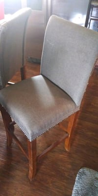 brown wooden framed gray padded chair Evans, 80620