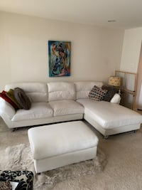 White leather 3-seat sofa with ottoman Alexandria, 22310