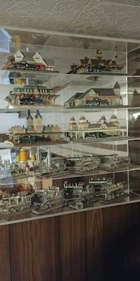 Railroad pewter engines and displays West Sand Lake, 12196