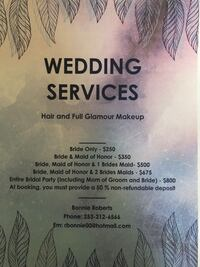 wedding services hair and full glamour makeup poster Columbus, 43228