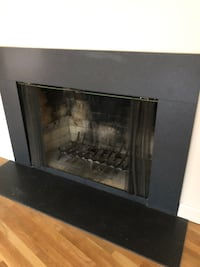 black and gray electric fireplace ASHBURN