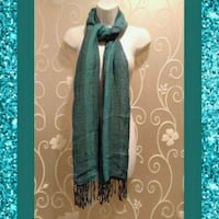 WOMENS TWO TONE AQUA SCARF WITH FRINGE  Ontario, 91762